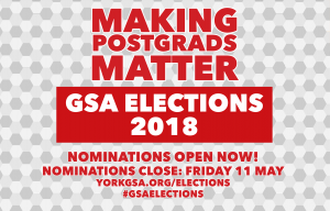 GSA Elections 2018 - Nominations open